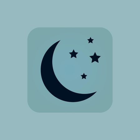 chamfered: Image of crescent moon with stars in square, on pale blue background