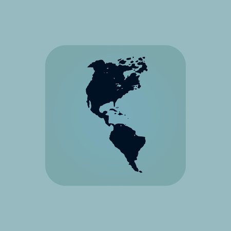 chamfered: Image of South and North America in square, on pale blue background Illustration