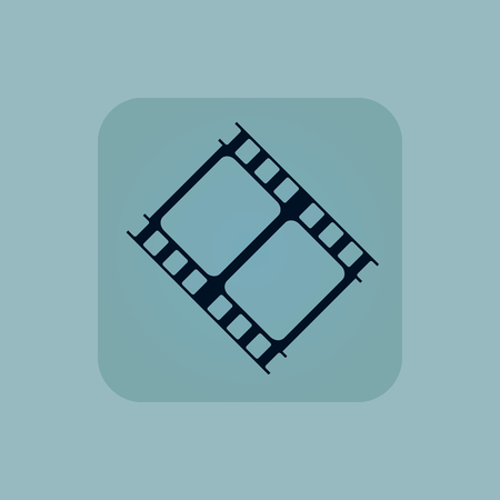 chamfered: Image of film strip in square, on pale blue background Illustration