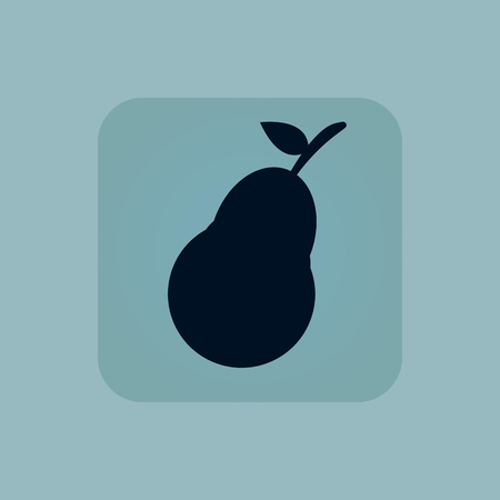 chamfered: Image of pear fruit in square, on pale blue background