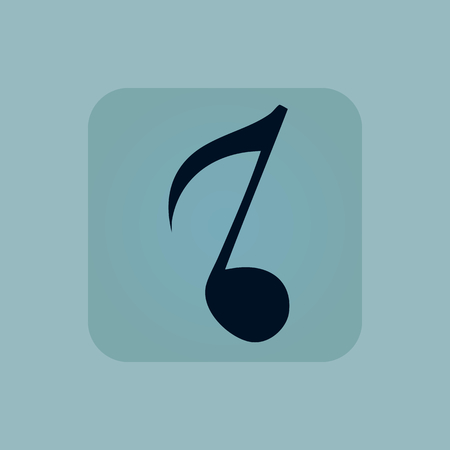 eighth note: Image of eighth note in square, on pale blue background
