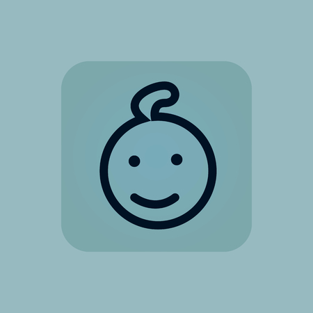 chamfered: Image of smiling child face in square, on pale blue background
