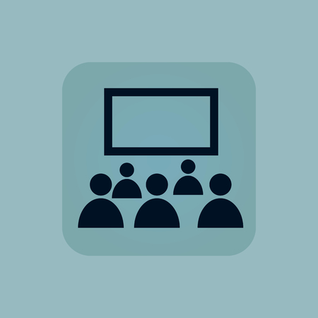 theater audience: Image of audience in front of screen in square, on pale blue background Illustration
