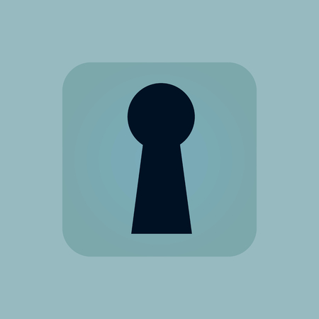 chamfered: Image of keyhole in square, on pale blue background Illustration