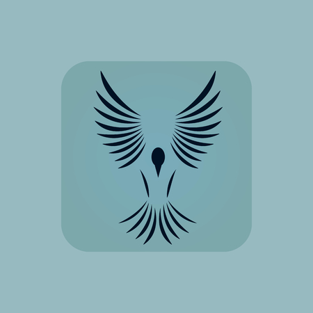 chamfered: Image of flying bird in square, on pale blue background