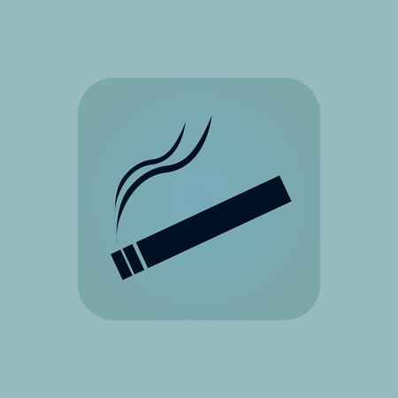 chamfered: Image of burning cigarette in square, on pale blue background Illustration