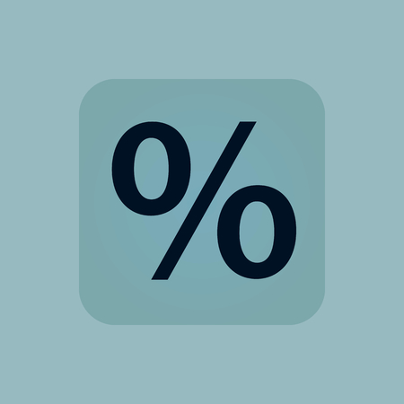 chamfered: Image of percent symbol in square, on pale blue background Illustration