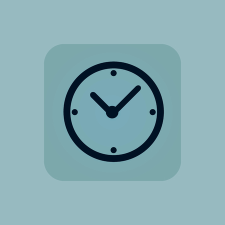 chamfered: Image of clock in square, on pale blue background