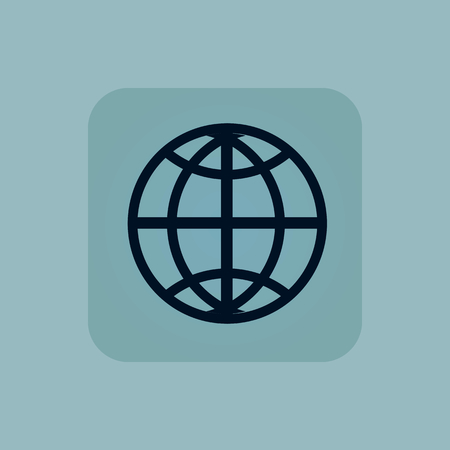 chamfered: Image of globe symbol in square, on pale blue background