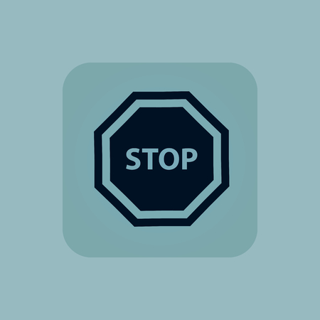 chamfered: Image of STOP sign in square, on pale blue background