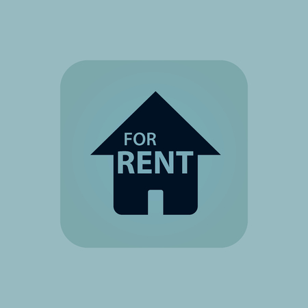 chamfered: Image of house with text FOR RENT in square, on pale blue background