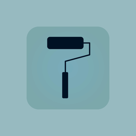 blue roller: Image of paint roller in square, on pale blue background