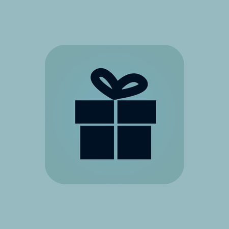 chamfered: Image of gift box in square, on pale blue background