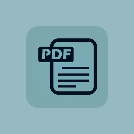chamfered: Image of document page with text PDF in square, on pale blue background