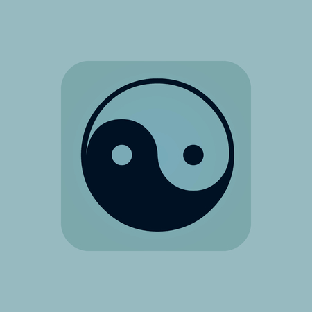 dao: Image of ying yang symbol in square, on pale blue background