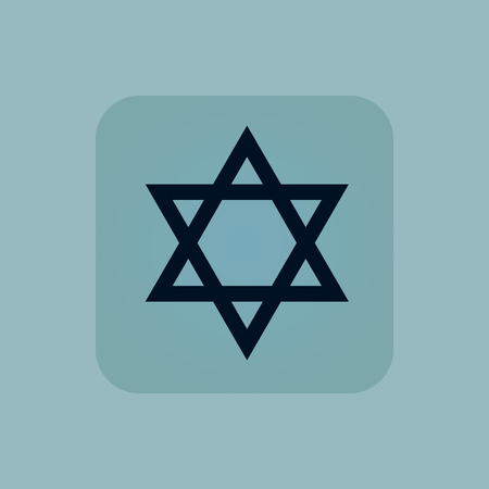 chamfered: Image of Star of David symbol in square, on pale blue background Illustration