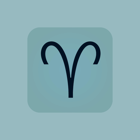 chamfered: Image of Aries zodiac symbol in square, on pale blue background Illustration
