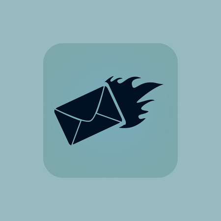 chamfered: Image of burning envelope in square, on pale blue background Illustration