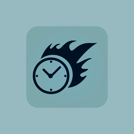 bounds: Image of burning clock in square, on pale blue background