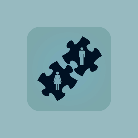 chamfered: Image of puzzle pieces with man and woman in square, on pale blue background