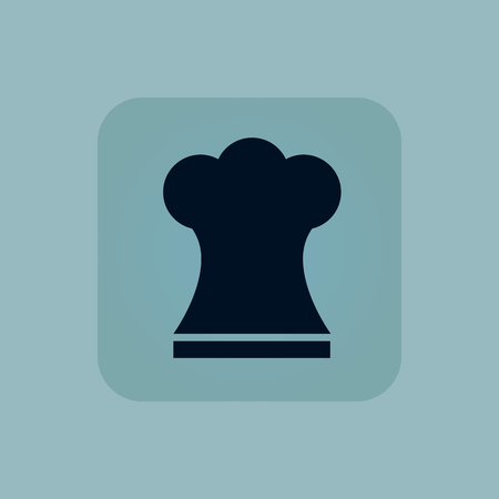 chamfered: Image of chef hat in square, on pale blue background Illustration