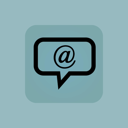 chamfered: Image of chat bubble with at-sign in square, on pale blue background Illustration