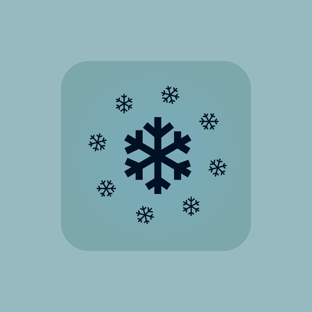 chamfered: Image of several snowflakes in square, on pale blue background