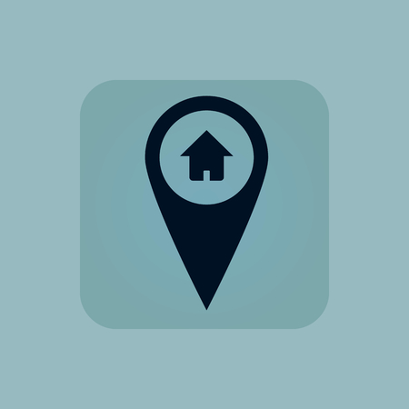 chamfered: Image of map marker with house in square, on pale blue background Illustration