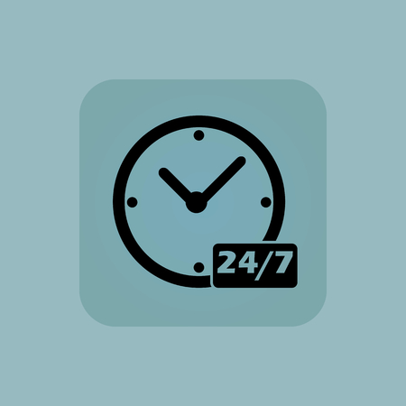 overnight: Image of clock with text 24 per 7 in square, on pale blue background