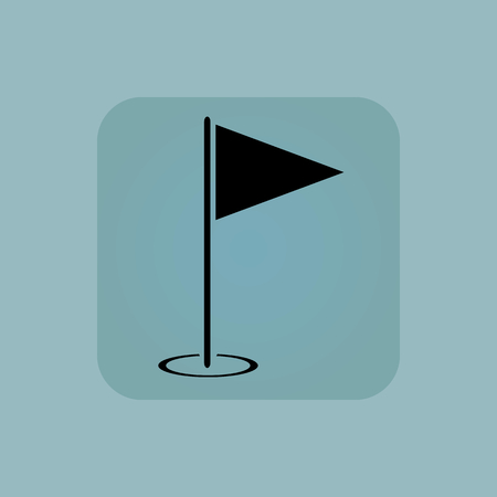 Image of flagstick in square, on pale blue background Illustration