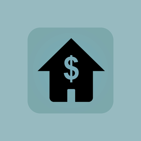 chamfered: Image of house with dollar symbol in square, on pale blue background Illustration