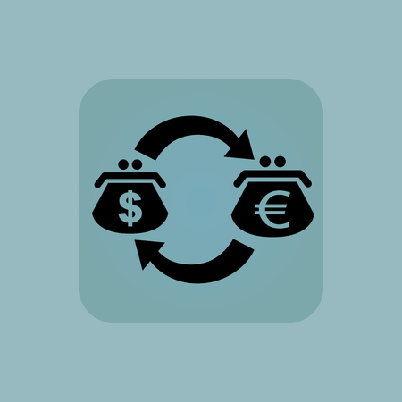 chamfered: Image of exchange between dollar and euro purses in square, on pale blue background