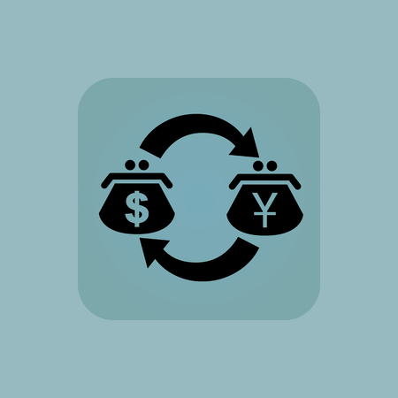 purses: Image of exchange between dollar and yen purses in square, on pale blue background Illustration