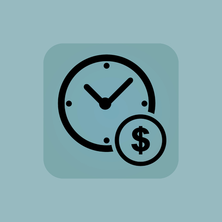 chamfered: Image of clock and dollar symbol in square, on pale blue background