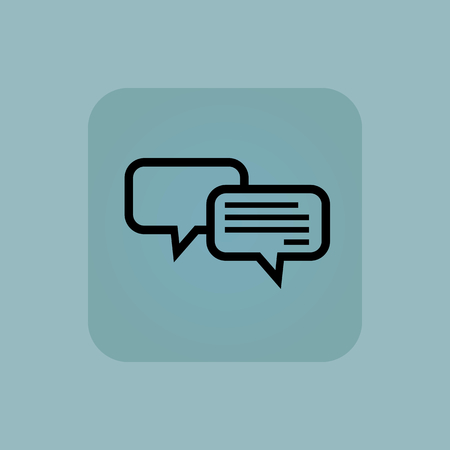 chamfered: Image of two chat bubbles, one with text, in square, on pale blue background Illustration