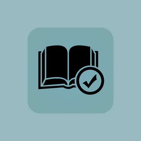 book mark: Image of open book and tick mark in square, on pale blue background