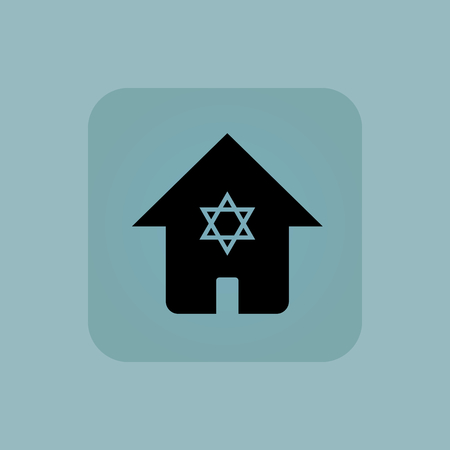 chamfered: Image of house with Star of David symbol in square, on pale blue background