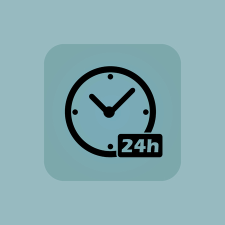 twenty four hours: Image of clock with text 24h in square, on pale blue background