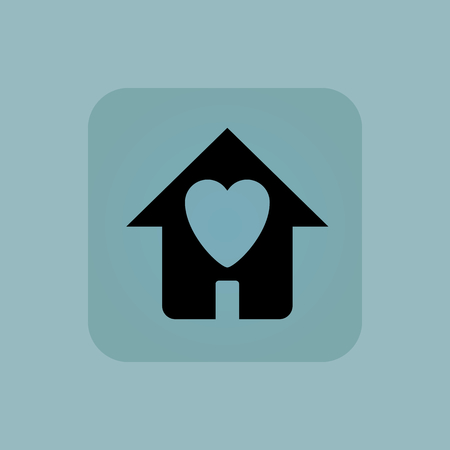 chamfered: Image of house with heart in square, on pale blue background
