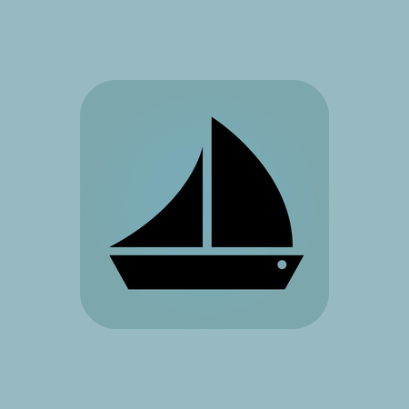 cruising: Image of sailing ship in square, on pale blue background Illustration