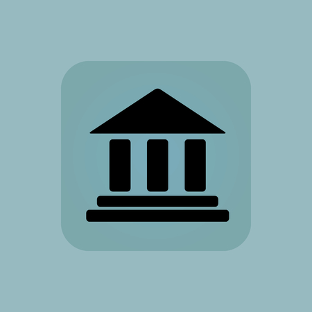 chamfered: Image of classical building with pillars in square, on pale blue background Illustration