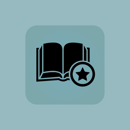 chamfered: Image of open book and star in square, on pale blue background