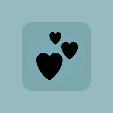 chamfered: Image of three hearts in square, on pale blue background