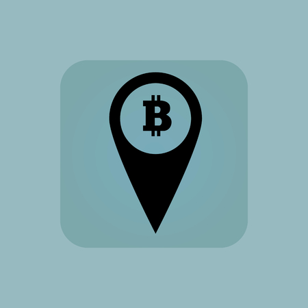 chamfered: Image of map marker with bitcoin symbol in square, on pale blue background