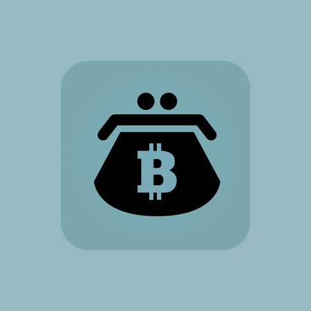 chamfered: Image of purse with bitcoin symbol in square, on pale blue background