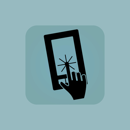 chamfered: Image of hand touching smartphone screen in square, on pale blue background