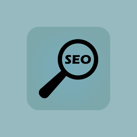 nuance: Text SEO under loupe in square, on pale blue background
