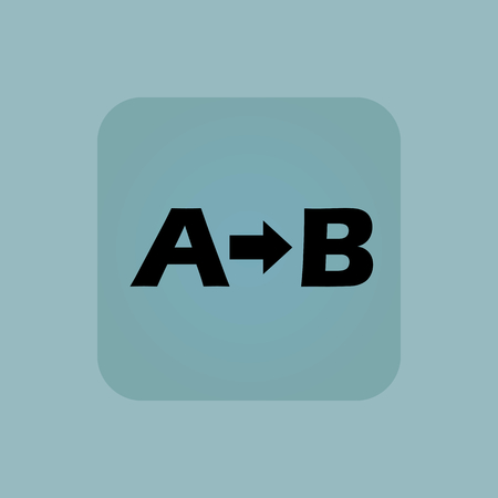 derivation: Letters A, B and arrow in square, on pale blue background