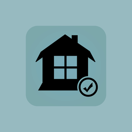 pastel like: Image of house with tick mark in square, on pale blue background