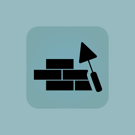 symbol icon: Image of brick wall under construction in square, on pale blue background Illustration
